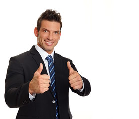 Businessman in suit shows you thumbs up