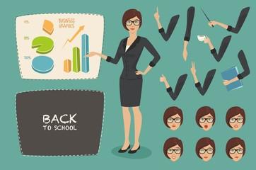 vector illustration business concept set young women