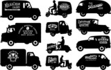 Editable vector silhouettes of vintage commercial vehicles