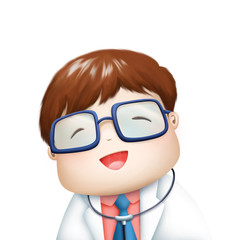 nice doctor in smiley face illustration