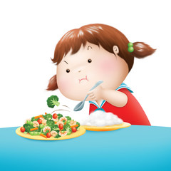 little girl throw broccoli out of her dish illustration