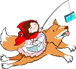 little girl in red riding hood lure a fox with money