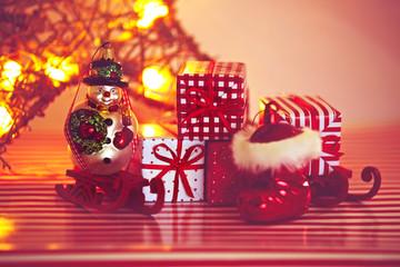 Weihnachtstiefel und Schneemann