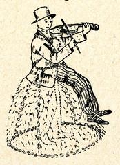 Fiddler on moving hay cock - latvian ethnographic mask