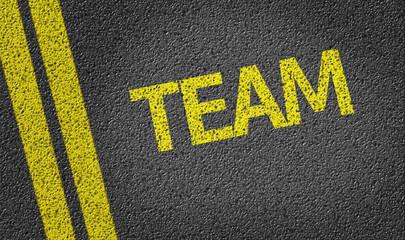 Team written on the road