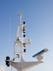 Communication tower on boat.