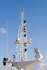 Communication mast on ship.
