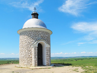 Chapel on the hill over vineyards in South Moravia.