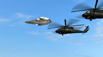 UFO escorted by Black Hawk helicopters