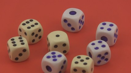 Dice used in games of chance.