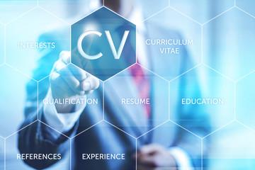 Curriculum vitae resume concept pointing finger