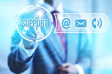 Online support and service concept pointing finger