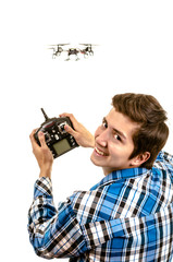 man with a quadcopter