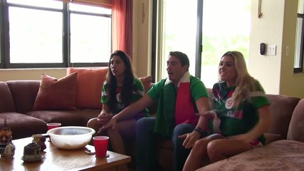 Group of happy Mexican soccer fans. Goal Celebration