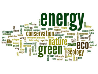 Conceptual energy or ecology word cloud