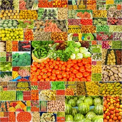 collage de nombreuses photographies de fruits et légumes