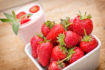 Organic strawberries and strawberry yogurt