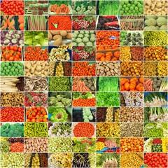collage de nombreuses photographies de légumes