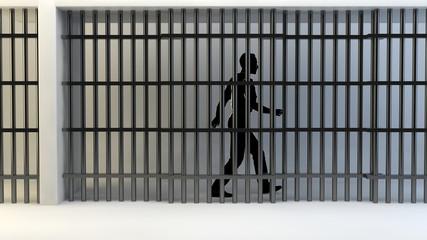 Persona in carcere dietro le sbarre
