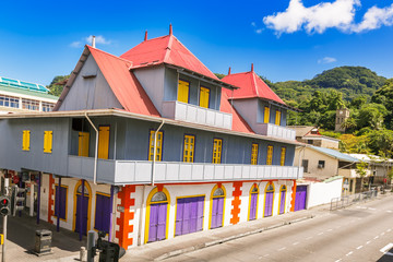 Seychelles; Victoria; Mahe; island; tropical; building; colorful
