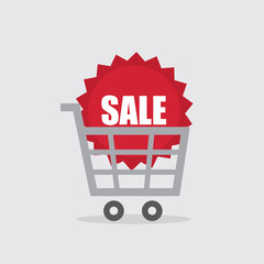 Shopping cart with large red sale sticker
