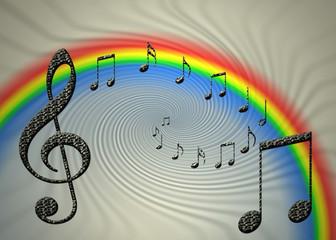 Arco iris, notas musicales, clave de sol, fondo