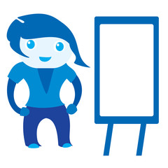 2d cute standing girl near a blank board