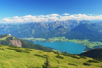 Panoramic view of the Dachstein and Lake Wolfgangsee, Austria