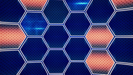flashing blue orange hexagons loopable background