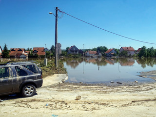 OBRENOVAC, SERBIA - MAY 23: Flood House and street in Obrenovac