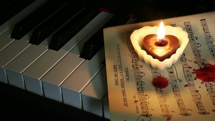 Piano Candle and Blood Drops on Music Sheet
