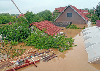 OBRENOVAC, SERBIA - MAY 16: Flood House and street in Obrenovac