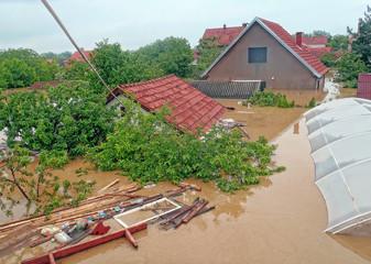 OBRENOVAC, SERBIA - MAY 16: Flood House and street in Obrenovac