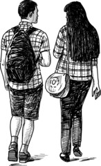 young couple on walk