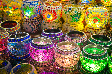 Oriental turkish lanterns at Istanbul market, Turkey
