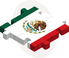 Mexico Flag in puzzle