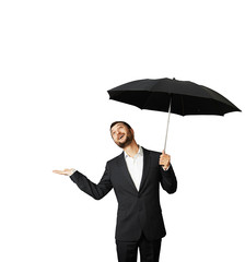 man with umbrella looking up