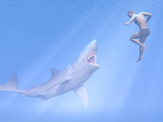 Shark attack - 3D render