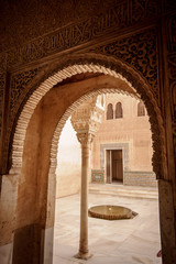 "Moorish architecture in the ""Patio del Cuarto Dorado"" (Patio of"