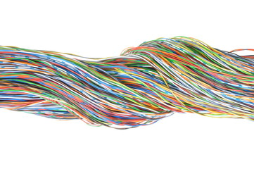 Telecommunication network cables isolated on white background