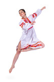 beautiful dancing girl in ukrainian polish national traditional