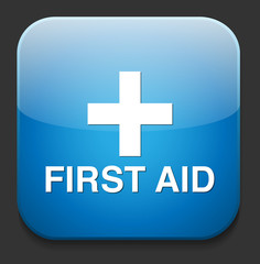 First aid medical button sign