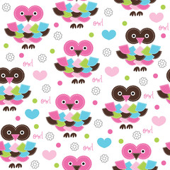 seamless colorful owl pattern vector illustration