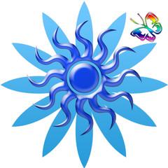 fleur bleue et papillon arc-en-ciel