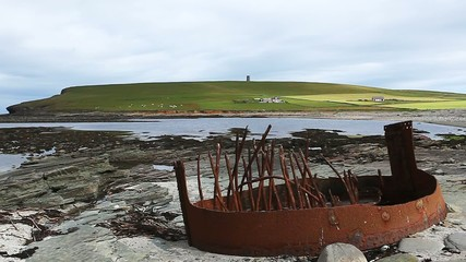 Shipwreck remains in Orkney, Scotland