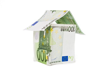 house with euro banknotes, economy and household finances