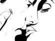 croquis noir et blanc couple amour gros plan
