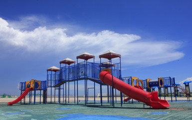 Colorful children s playground on the cloud