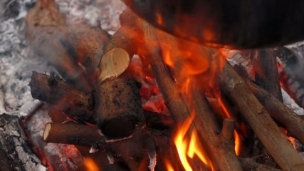 Close up of a campfire flames with a cauldron, stew-pot