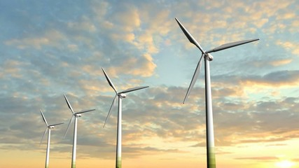 Windmill Wind Turbines in the sunset - Clean Green Wind Energy